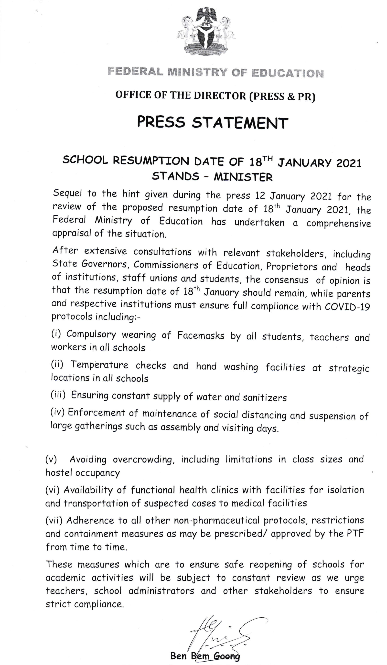 Federal government press release on School resumption dates